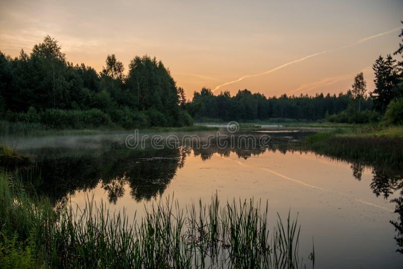 Misty orange lake royalty free stock image