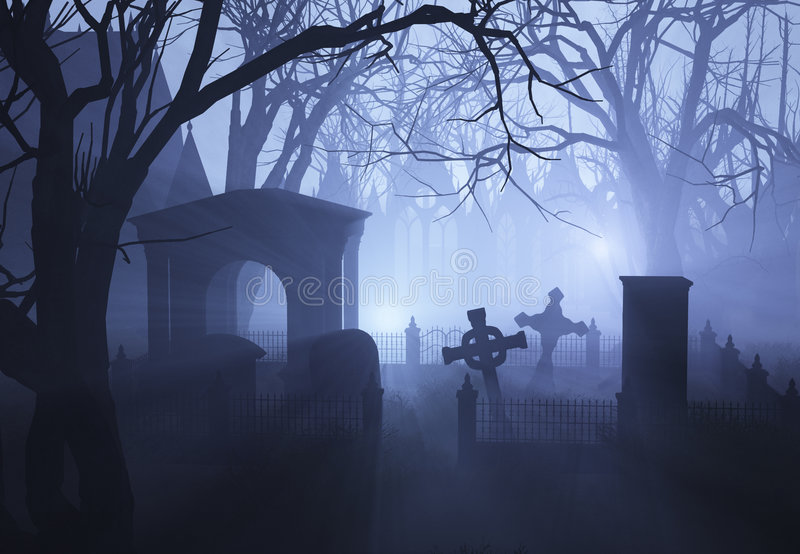 Misty Overgrown Cemetary. 3D render depicting an overgrown neglected cemetaryin misty twilight