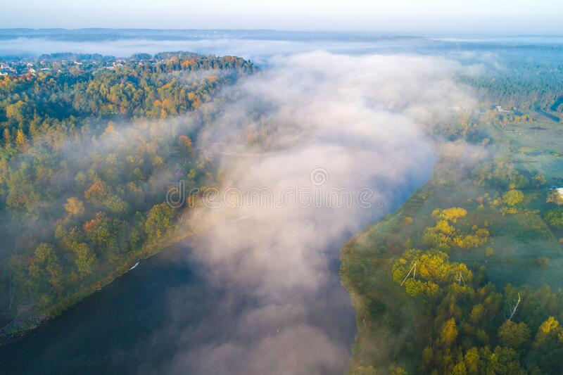 Misty river, aerial. View. fall season royalty free stock image