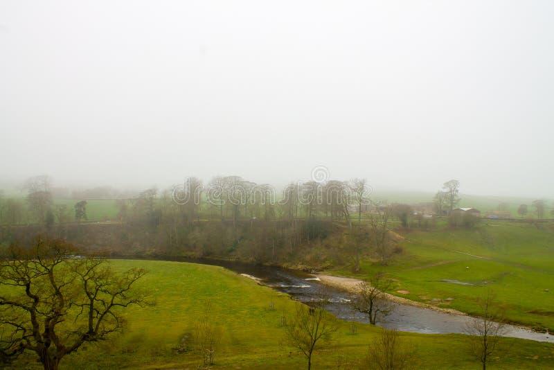 Misty Scenery i Wharfedale royaltyfri foto