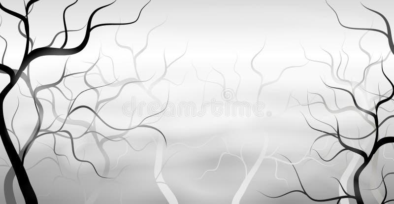 Download Misty Spooky Dead Tree Forest Stock Illustration - Image: 3399297