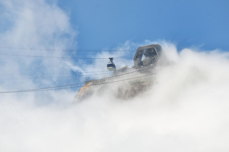 Misty Sugarloaf Pao de Acucar Mountain Cable Car Rio stock images
