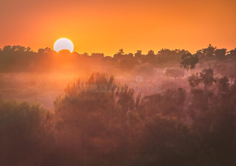 Misty sunrise in Ayamonte, Spain, looking from Costa Esuri over the river Guadiana stock photos