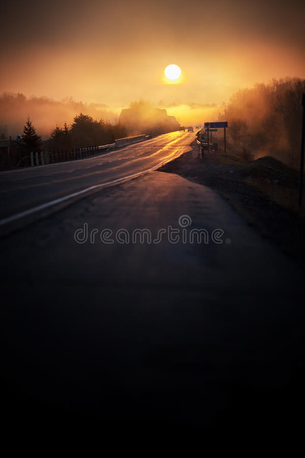 Download Misty Sunrise On The Highway Stock Image - Image: 24712045