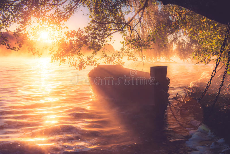 Misty sunrise lake. Misty lake view: boat under the tree, soft sunrise light