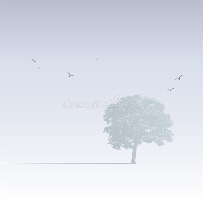 Misty Tree Scene royalty free illustration