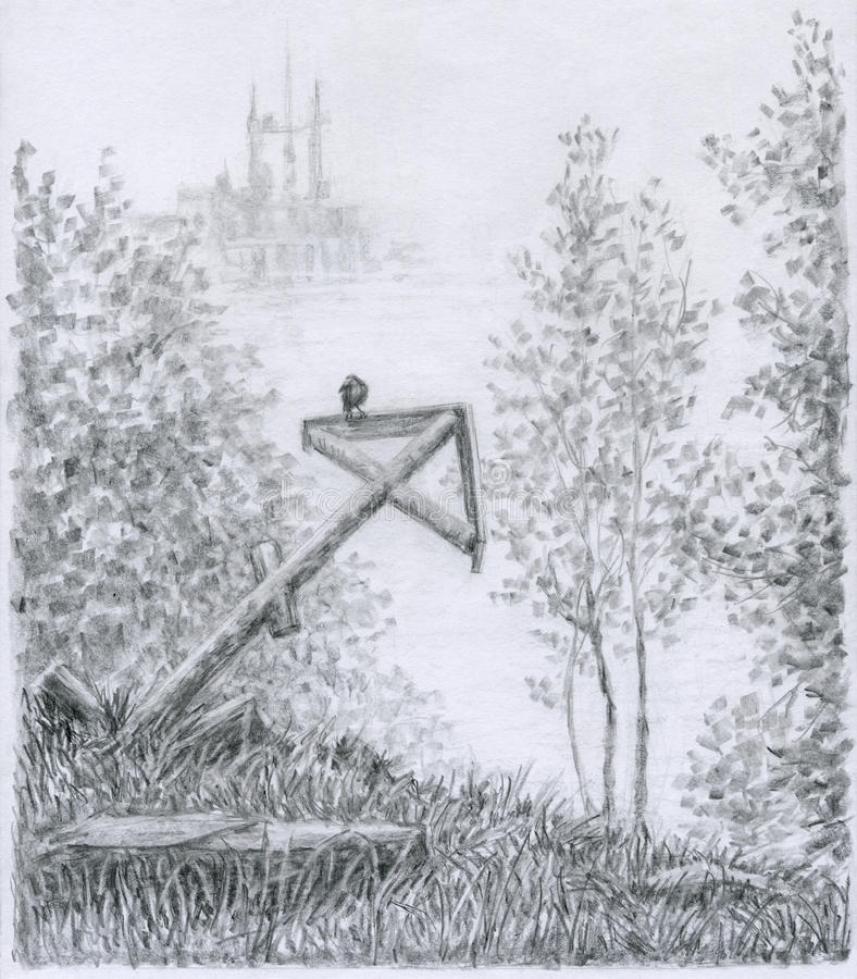 Misty valley. Foggy dale, a crow is sitting on the slanted ancient cross, in the distance are seen the ruins of the ancient castle. Wide and soft drawing pencil vector illustration