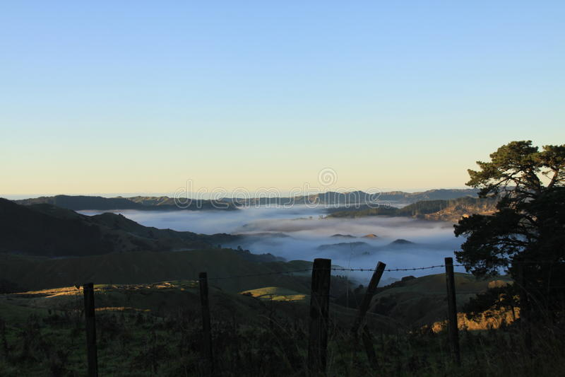 Misty Valley em Nova Zelândia imagem de stock royalty free