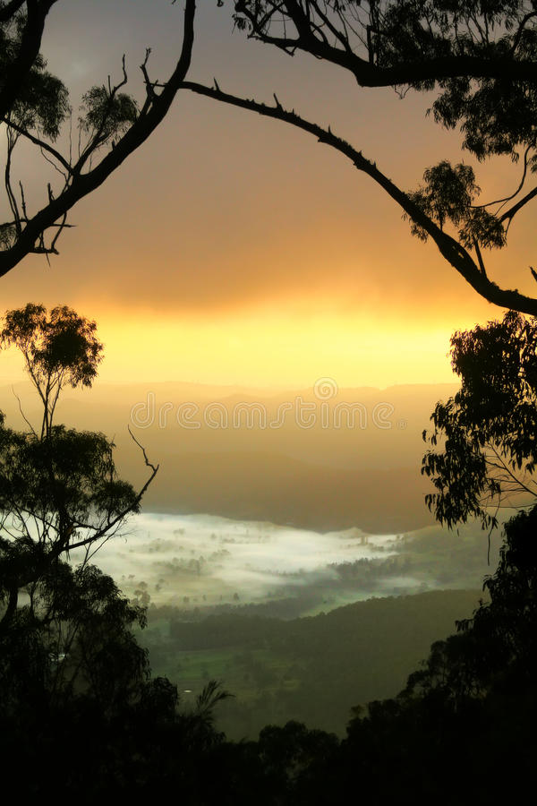 Misty Valley Sunrise royalty free stock photos