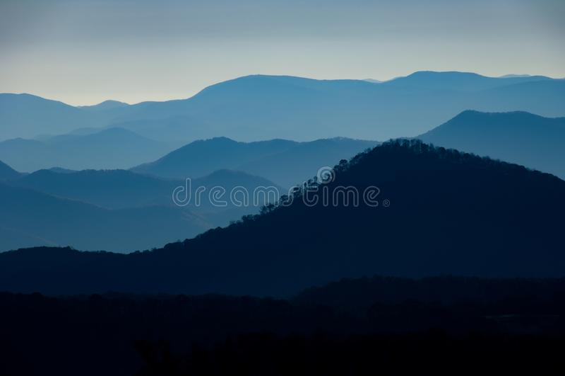 Misty view of the Blue Ridge Mountain Range from Cullowhee, North Carolina, USA. stock photos