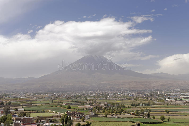 Misty Volcano at Arequipa, Peru royalty free stock image