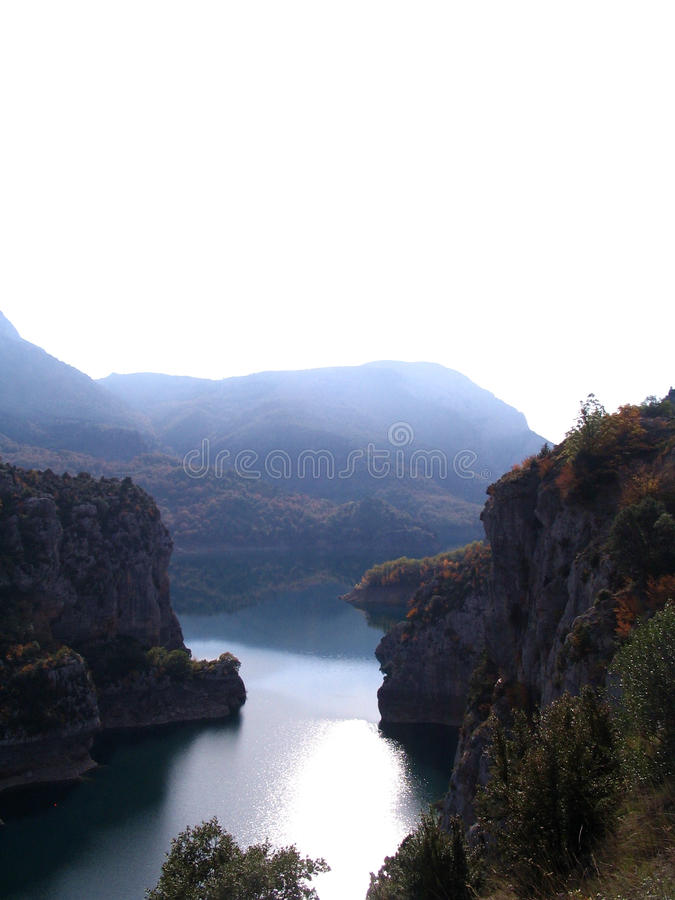 Pyrenees Mountains Cliffs and River royalty free stock image