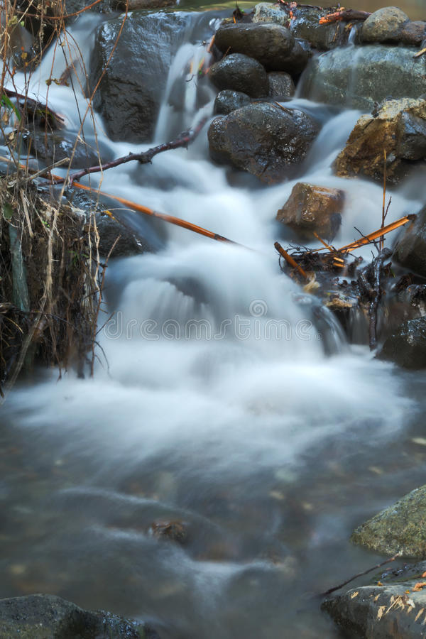 Misty waterfall. In the nature trail in Kakopetria village in Cyprus royalty free stock images