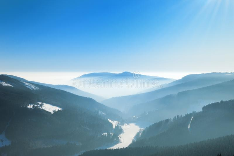 Download Misty Winter Day In The Mountains Stock Photo - Image: 8081934