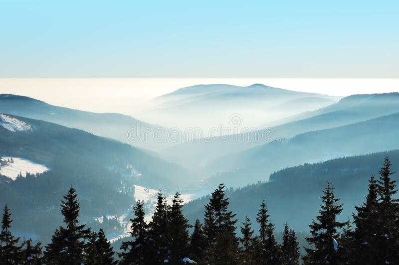 Download Misty Winter Day In The Mountains Stock Image - Image of haze, chilly: 8122253