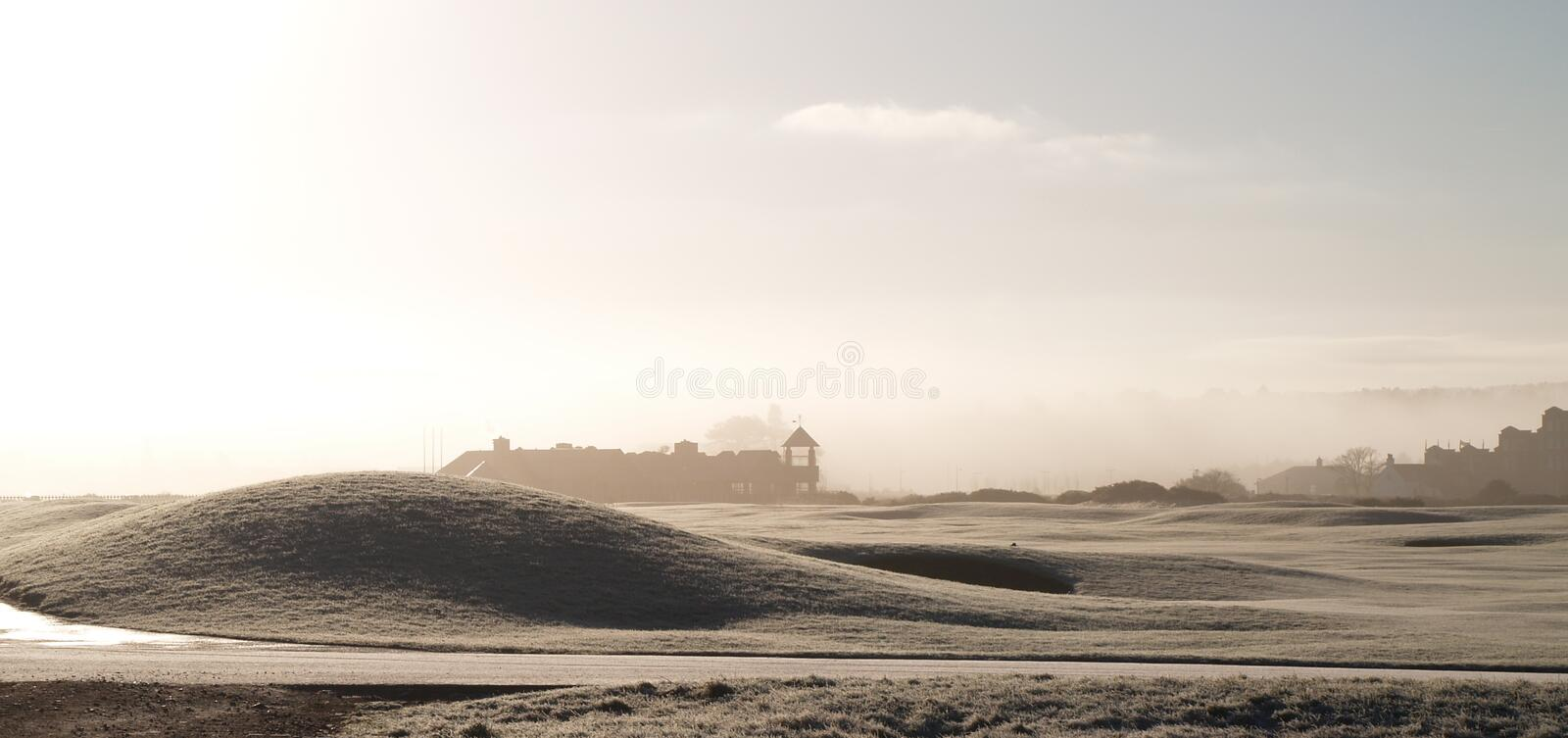 Misty winter morning in St. Andrews, Scotland. The famous St Andrews golf course on a misty winters morning stock photography
