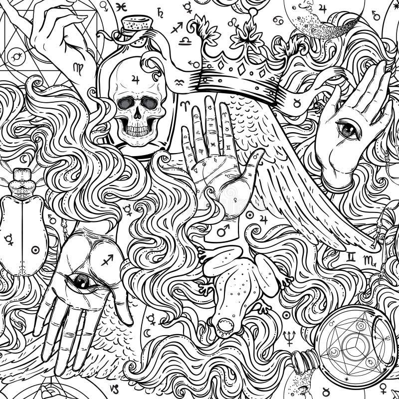 Mistyczka, magia, tło Religia i okultyzm z esote ilustracja wektor
