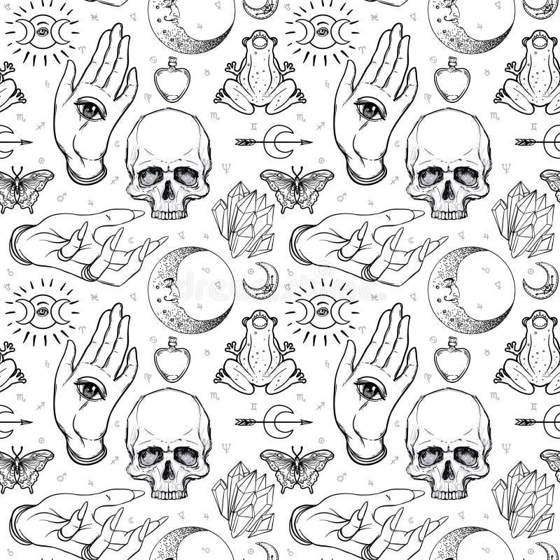 Mistyczka, magia, tło Religia i okultyzm z esote ilustracji