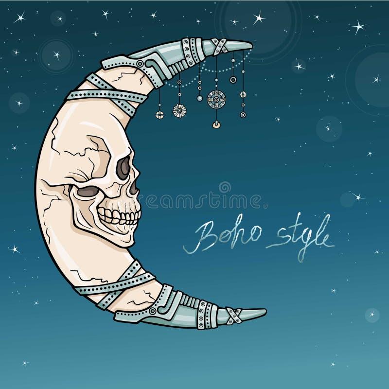 Mistyczna półksiężyc z twarzą ludzką - czaszka Duch antyczny żołnierz Żelazna biżuteria ilustracji