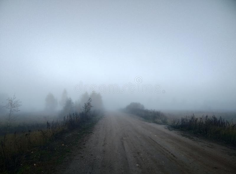 Mistyczni ranek mgły jesieni krajobrazu drzewa, światło słoneczne i drogowa naturalnego tła tapeta zdjęcia royalty free