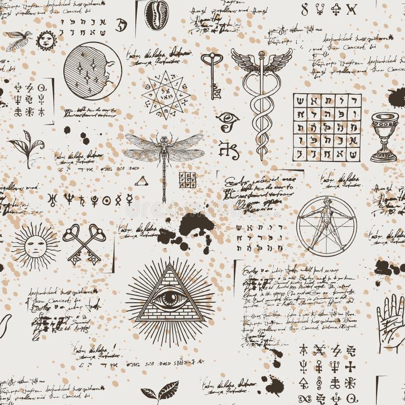 Mistyczny, ezoteryczny, occult bezszwowy tło, royalty ilustracja