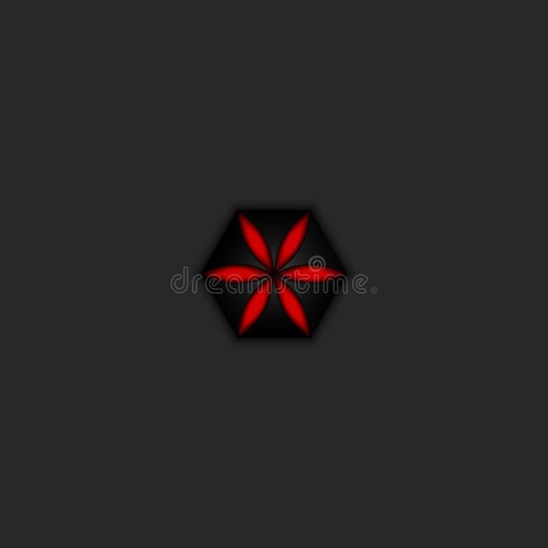 Mistyczny gradientowy czerwony logo kwiat, czarnej urzekającej świętej geometrii kwiecisty emblemat, symetrii dekoracji projekta  ilustracja wektor