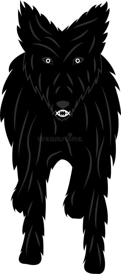 Mistyczny i gniewny czarny pies z hipnotycznym spojrzeniem ilustracja wektor