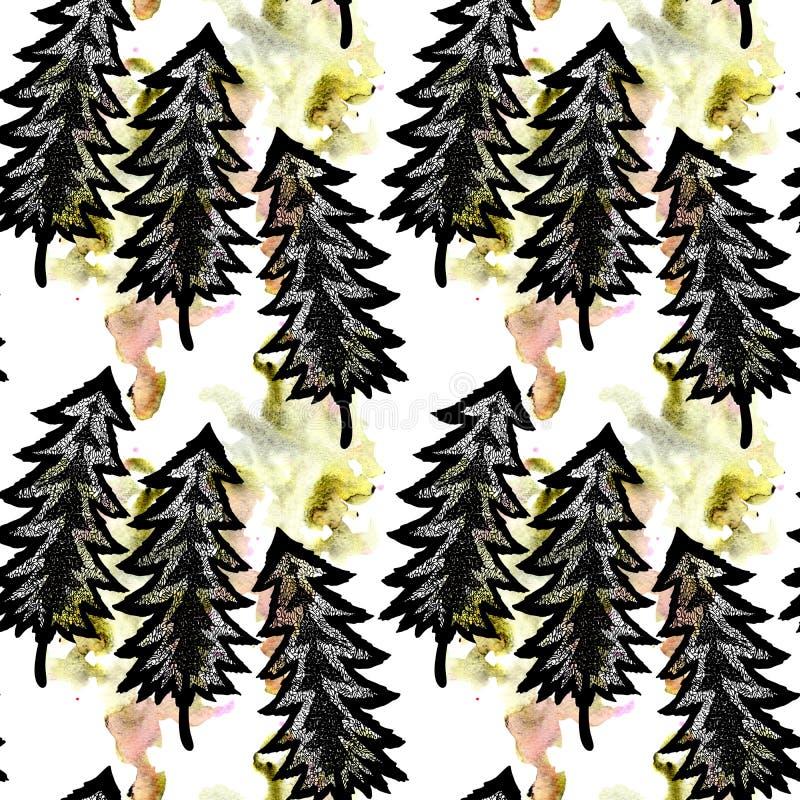 Mistyczny las z wiele openwork niezwykłymi choinkami i jaskrawa abstrakcjonistyczna akwarela czyścimy i plamiący bezszwowy wzór ilustracja wektor