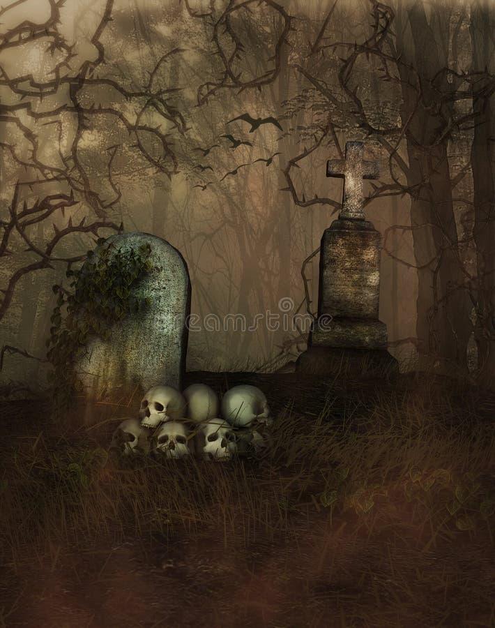 mistyczny na cmentarz ilustracji