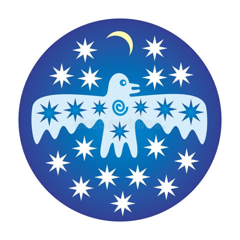 Mistyczny ptak na tle gwiazdy i księżyc na błękitnym okręgu tle ilustracji