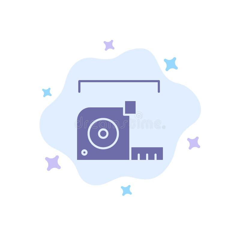 Misura, misura, metro, roulette, icona blu del righello sul fondo astratto della nuvola illustrazione di stock
