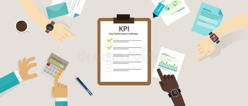 Misura ora di piano di strategia di valutazione di concetto di affari dell'indicatore di efficacia chiave di Kpi royalty illustrazione gratis