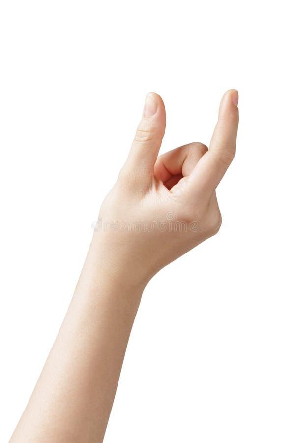 Misura teenager femminile della mano qualcosa immagine stock libera da diritti