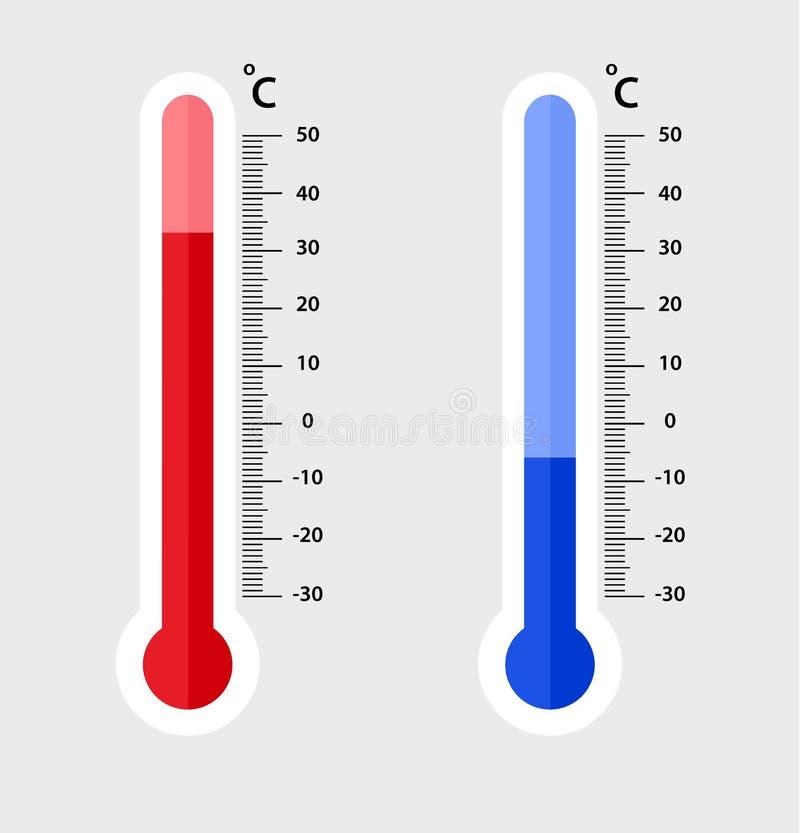 Misurazione centigrado dei termometri di meteorologia calore e freddo, illustrazione di vettore Rappresentazione dell'attrezzatur royalty illustrazione gratis