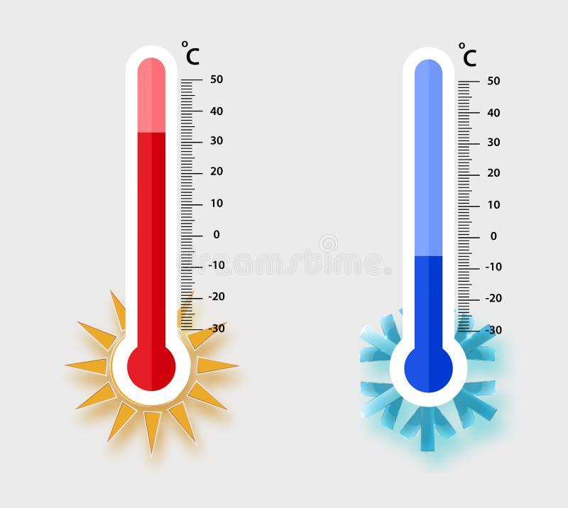 Misurazione centigrado dei termometri di meteorologia calore e freddo, illustrazione di vettore Rappresentazione dell'attrezzatur illustrazione di stock