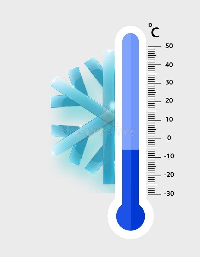 Misurazione centigrado dei termometri di meteorologia freddo, illustrazione di vettore Attrezzatura del termometro che mostra fre illustrazione di stock