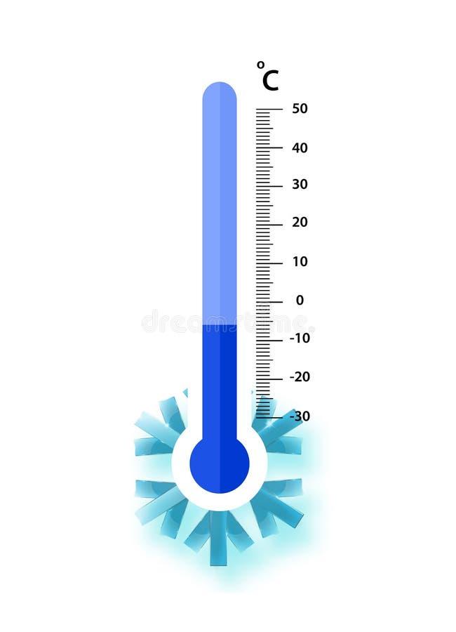 Misurazione centigrado dei termometri di meteorologia freddo, illustrazione di vettore Attrezzatura del termometro che mostra fre illustrazione vettoriale