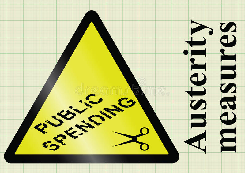 Misure di austerità e riduzioni delle spese pubbliche royalty illustrazione gratis