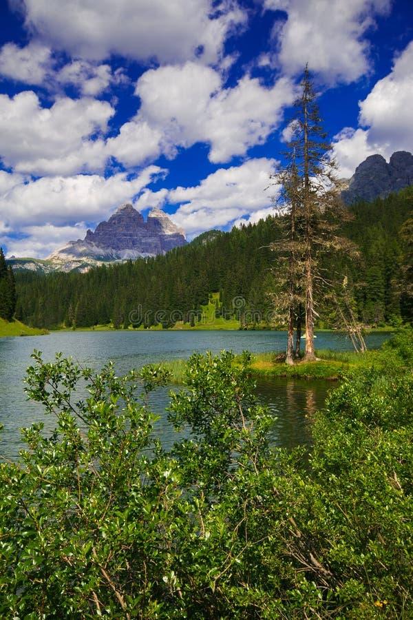 Misurina湖,意大利白云岩美妙的看法夏季的 免版税库存照片