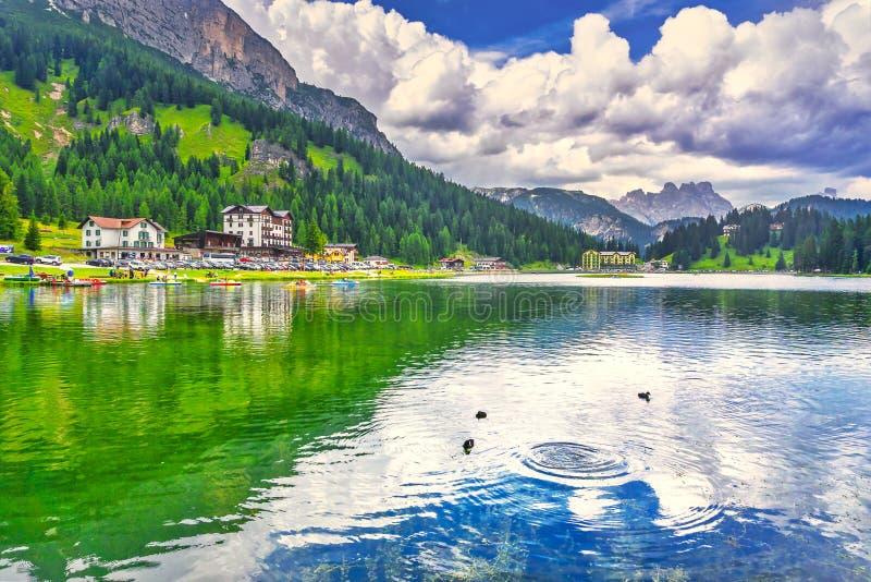 Misurina lake and Dolomites mountains. Veneto, Italy stock images