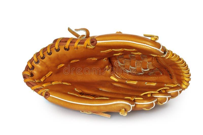 Mitón vacío del colector del béisbol aislado en blanco foto de archivo