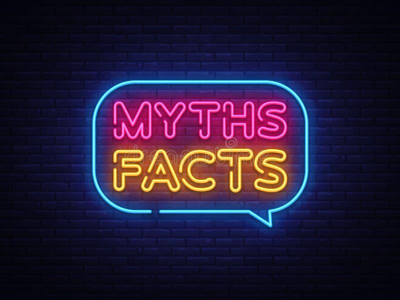 Mitów fact teksta Neonowy wektor Mitów fact neonowy znak, projekta szablon, nowożytny trendu projekt, nocy neonowy signboard, noc royalty ilustracja