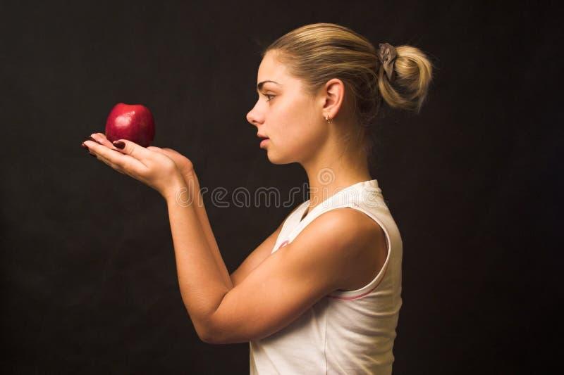 Mit Apfel lizenzfreies stockbild