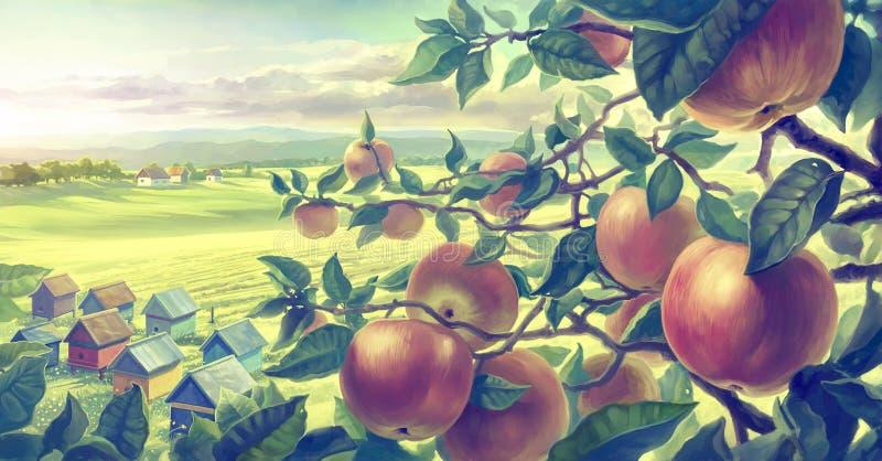 Mit Apfelniederlassungen lizenzfreie abbildung