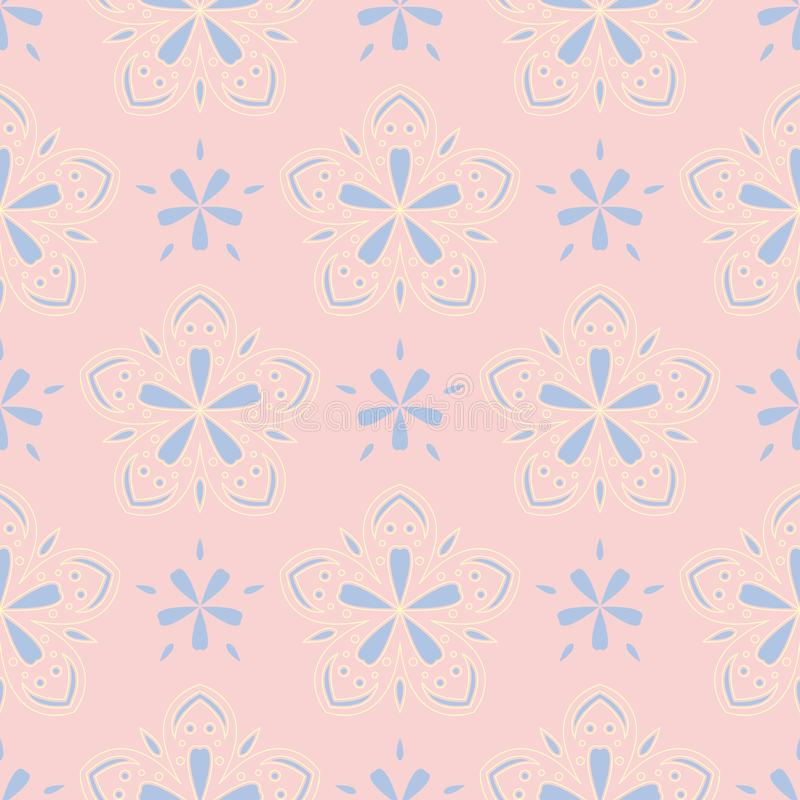 Mit Blumen erblassen Sie - rosa nahtlosen Hintergrund Blumenmuster mit den hellblauen und gelben Elementen stock abbildung