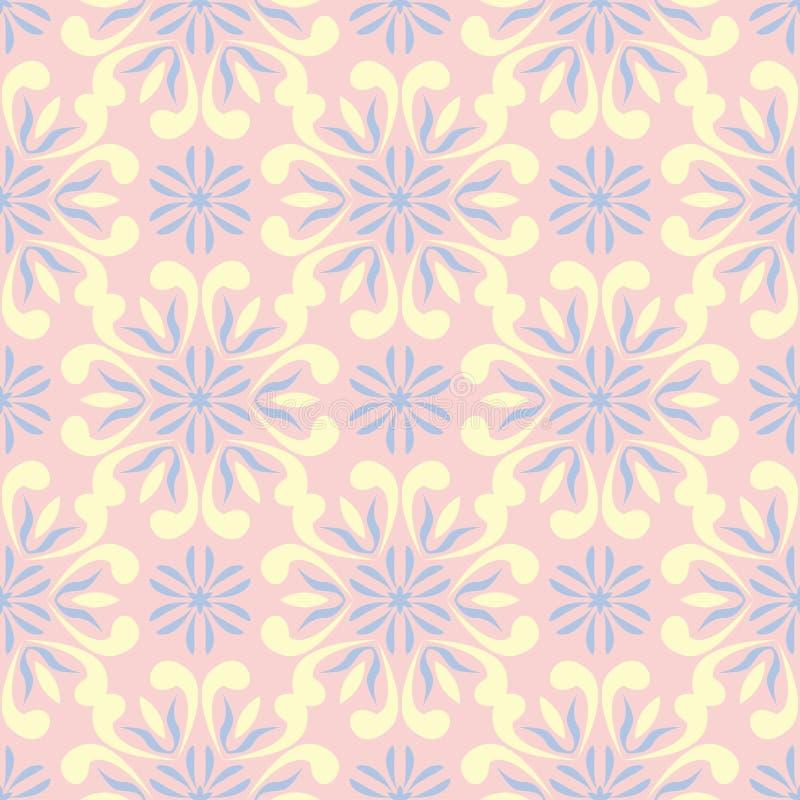 Mit Blumen erblassen Sie - rosa nahtlosen Hintergrund Blumenmuster mit den hellblauen und gelben Elementen lizenzfreie abbildung