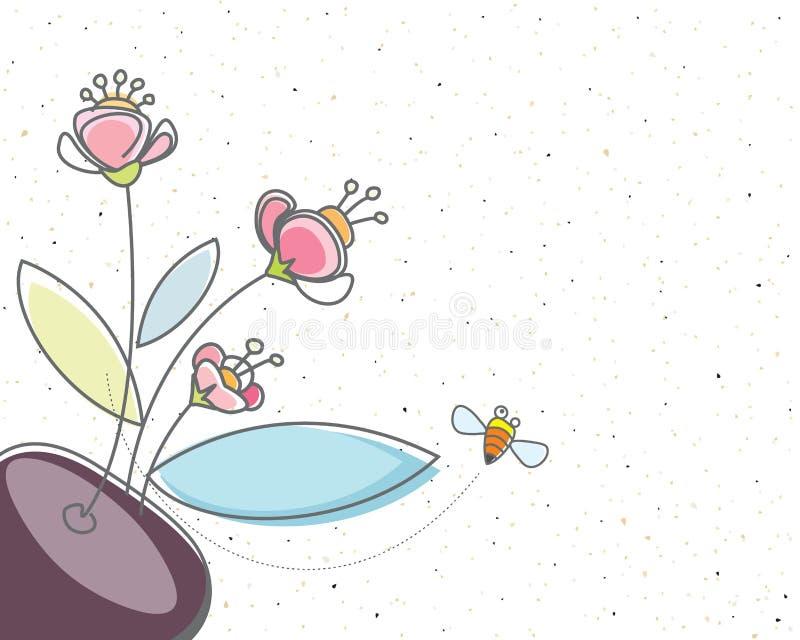 Mit Blumen und die Biene lizenzfreie abbildung
