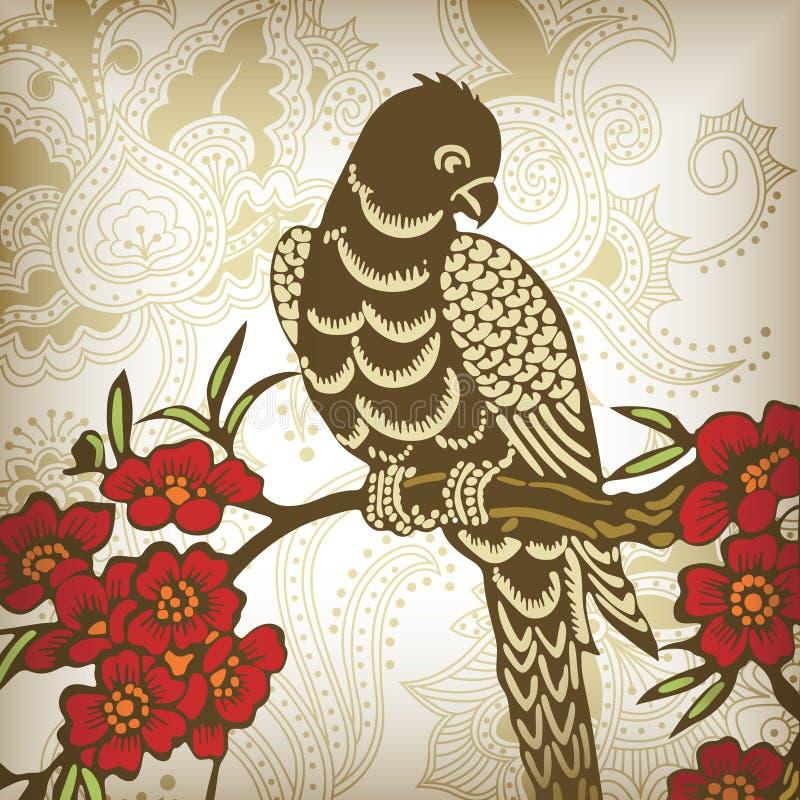 Mit Blumen und Vogel 1-3 lizenzfreie abbildung