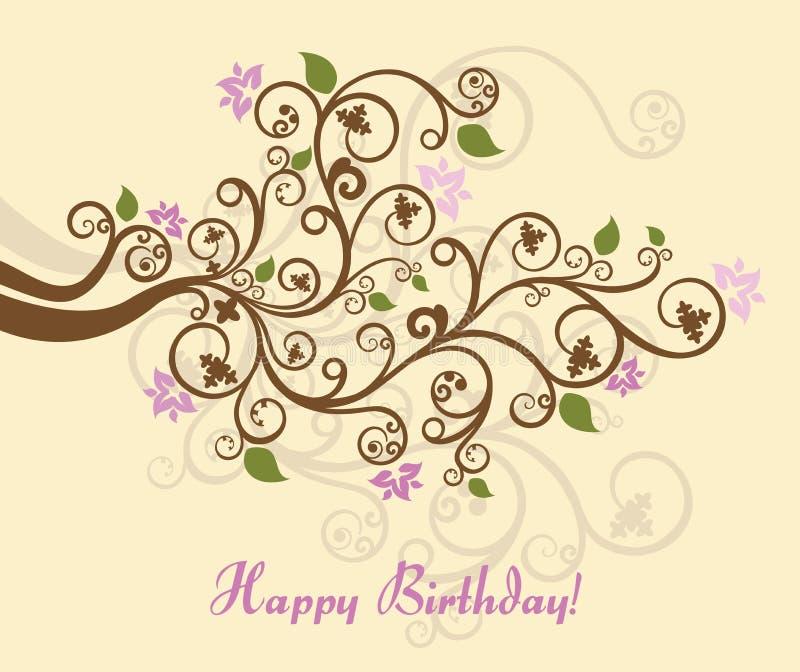 Mit Blumenalles Gute zum Geburtstagkarte lizenzfreie abbildung