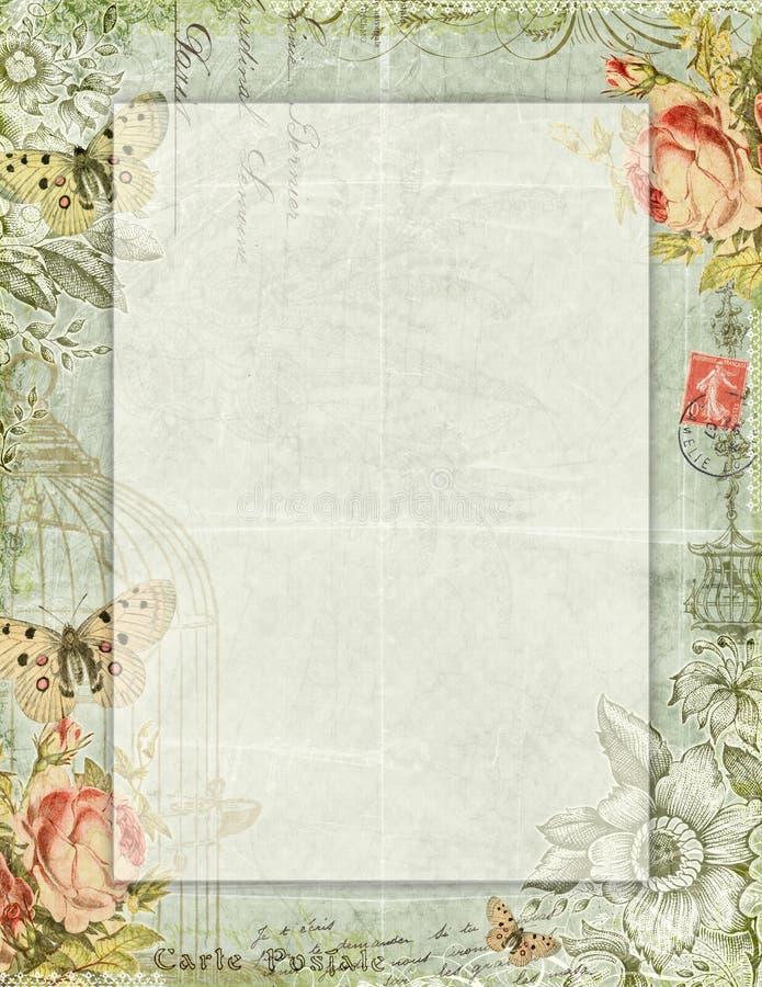 Mit Blumenstationäres des bedruckbaren Weinleseshabby-chic-stils mit Schmetterlingen vektor abbildung